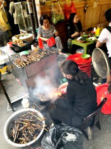 Hanoi street food being cooked at Bun Cha 46 phat loc